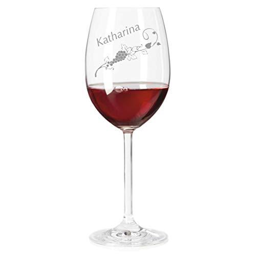 Rotweinglas mit Name graviert - personalisiertes Weinglas - mit individueller Wunsch-Gravur als Geschenk (Weinranke)
