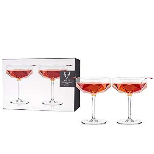 Viski 6267 Raye Faceted Crystal Coupe, Rolling