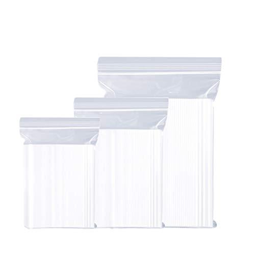 Foeska Sachets Refermables 3 Tailles 300 Pièces Sachets Zip 6 x 9/9 x 13/10 x 15cm Transparents Plastiques pour Rangement de Bijoux Aliments Artisanat Minéraux Vitamines