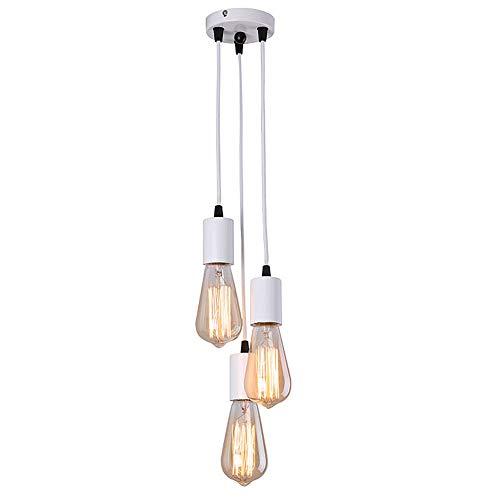 Eetkamerlamp Vintage Kroonluchter Creatieve Industriële Hanglamp Bar Restaurants Eettafel Lamp in Hoogte Verstelbare Hanglamp Decoratie Hotels Cafe Kledingwinkel Eethoek 3×E27,White