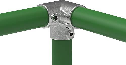 Fenau | Pieza angular de 3 vías, 90°, pieza transversal de unión angular, Ø 42,4 mm, fundición maleable, galvanizado en caliente, incl. tornillos
