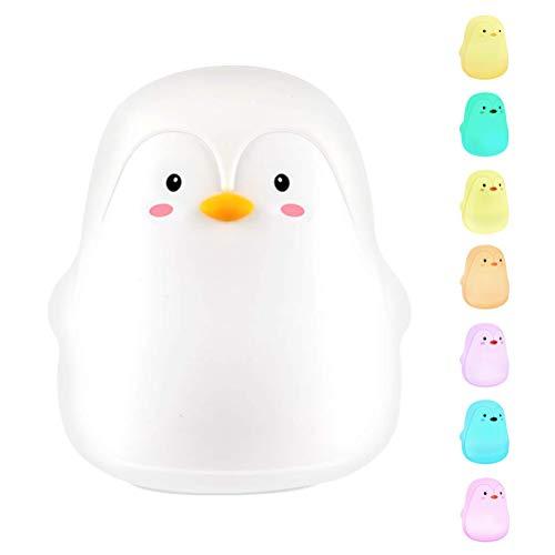 Dan&Dre Pinguin Nachtlicht,Nachtlicht am Bett,Weiche Silikon Pinguin Nachtlichter für Kinder 7-Farben LED Baby Nachtlicht Touch Lampe Babyparty Geschenk