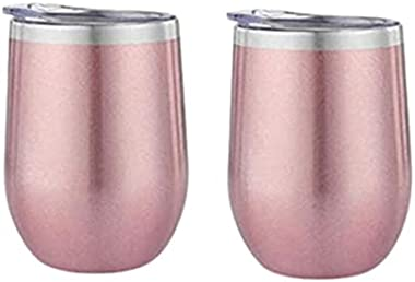 2pcs 12 Ounce Stemless Wine Glass Tumbler with Lid Stainless Steel Double Wall Vacuum Insulated Travel Cup (Gold)