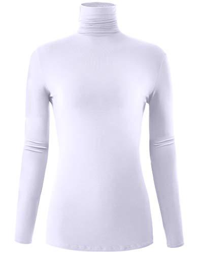 Long Sleeve Turtleneck Stretch Slim T Shirt Layer Top White Medium