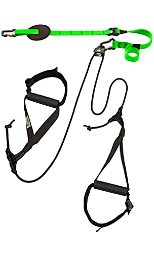 eaglefit Sling-Trainer Allround, Fitnessgerät, Schlingentrainer inkl. Umlenkrolle, Längenverstellung 90-310 cm, für Profis & Beginner, grün