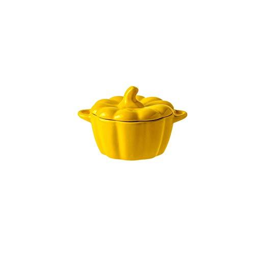 Ceramico Ciotola Per Zuppa Con Manici Copertina, 1600ml Tazze Da Zuppa Adatto Al Microonde In Lavastoviglie Bello Zucca Ciotola Per Dolce Insalata Cereale-giallo-270ml/9.1oz