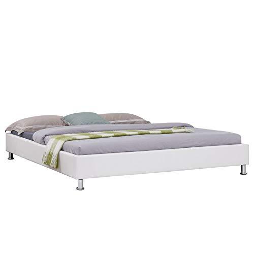 IDIMEX Lit futon Double pour Adulte Nizza avec sommier King Size 180 x 200 cm Couchage 2 Places / 2 Personnes, Pieds en métal chromé, revêtement synthétique Blanc