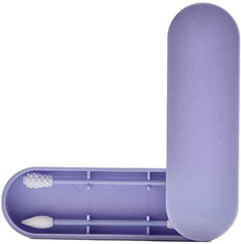 Gobesty Cotons-tiges r/éutilisables en silicone double face lavable avec /étui de rangement pour le nettoyage des oreilles