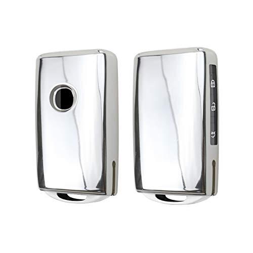 CDEFG Carcasa para llave de coche Mazda3 CX-30 CX-5 CX-8 2020, carcasa de silicona TPU brillante, botones de radio, accesorios para el coche, color plateado