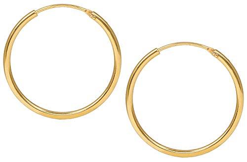 Jukserei Damen Ohrringe Hoop Earrings Gold - Creole Silber vergoldet - JUK-ESM102g