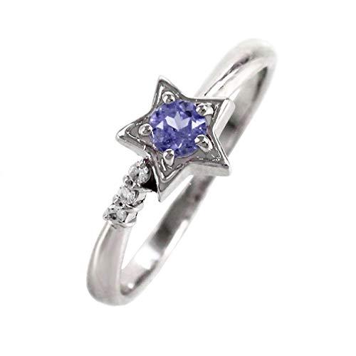 [リュイール] タンザナイト ホワイトゴールド K10 スター 星 一粒 10月 誕生石 ダイヤモンド リング レディース 15号