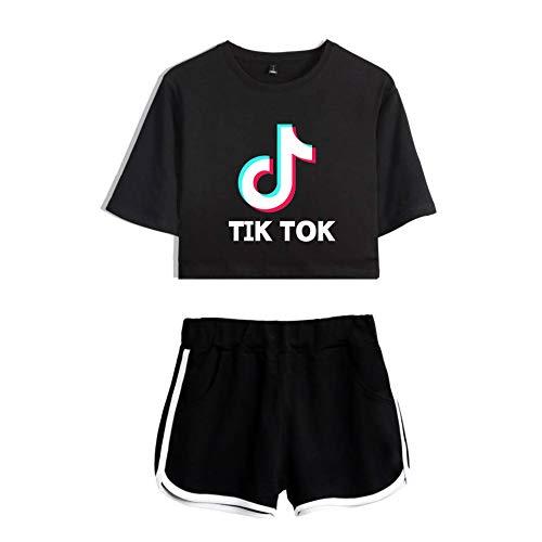 Tik Tok 2-teiliges Set T-Shirt Tops Damen Und Shorts Anzug Gym Workout Running Trainingsanzug Sommer Casual Sportswear Pyjamas Yoga Kleidung Mädchen,Black+Black-XL