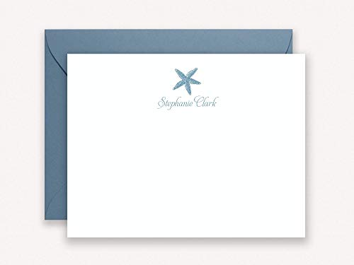 Personalized Starfish Stationary, Set of Flat Note Cards with Pointed Flap Envelopes for Thank You Notes