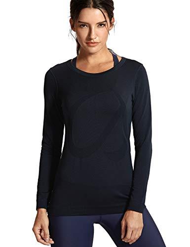CRZ YOGA Damen Sport Shirt Langärmliges Yoga Shirt Nahtlos Atmungsaktiv,Laufshirt Laufen Fitness Schwarz-R759 38