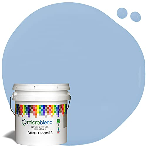 Microblend Interior Paint and Primer - Blue/New Day Sky, Satin Sheen, 1-Gallon, Premium Quality, One Coat Hide, Low VOC, Washable, Microblend Blues Family