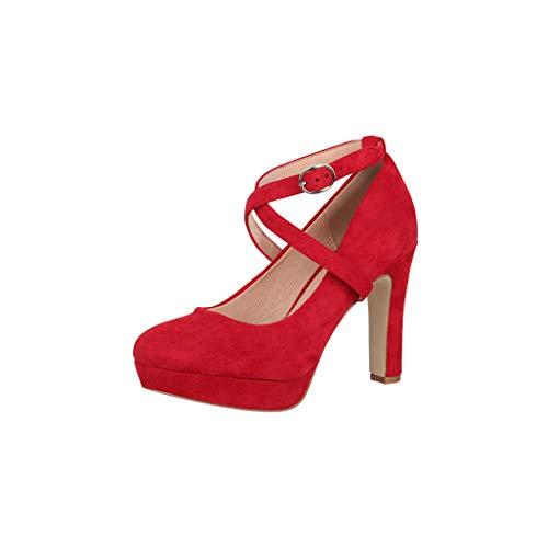 scarpe donna rosse con tacco Elara Tacchi Alti da Donna Cinghietta Vintage Chunkyrayan Rosso ZZ536 Red-37