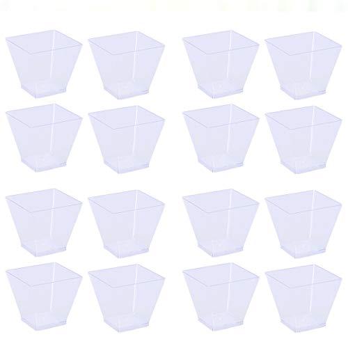 Amosfun 20pcs Einweg Portion Cups Kunststoff Mousse Cup Trapez-Tasse für Jelly Yogurt Dessert 60ml