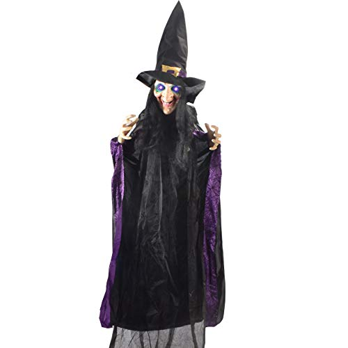 """JOYIN Life Size 74"""" Hanging Animated Witch with LED Eyes and Spooky Sounds for Halloween Decorations"""