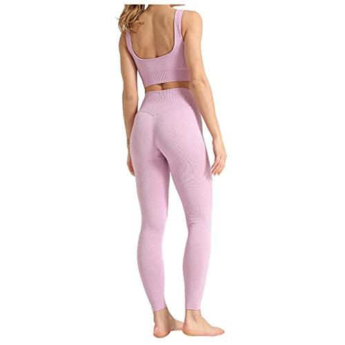 BaZhaHei Damen Yoga Trainingsanzüge Sport Shirt Langarm Stretch Trainingshose Set Trainings Fitness Workout Sportswear Freizeitanzug Sportanzug Jogginganzug Traingsanzug