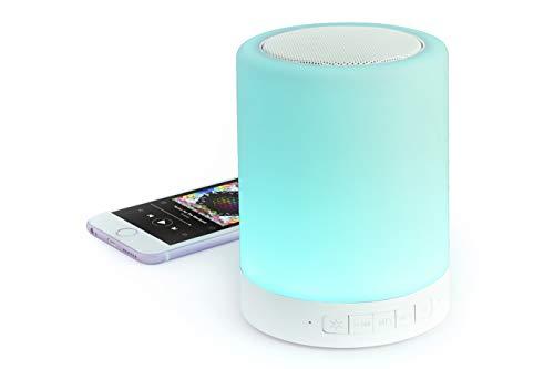 MKTOSASA - Altavoz Bluetooth 3.0 y 3W y Lámpara de Noche Táctil con Tecnología Led Inteligente ILT. Función Manos Libres, Conexión Jack 3.5mm y Ranura para Tarjetas Mini SD- 9.8x12.6x9.8