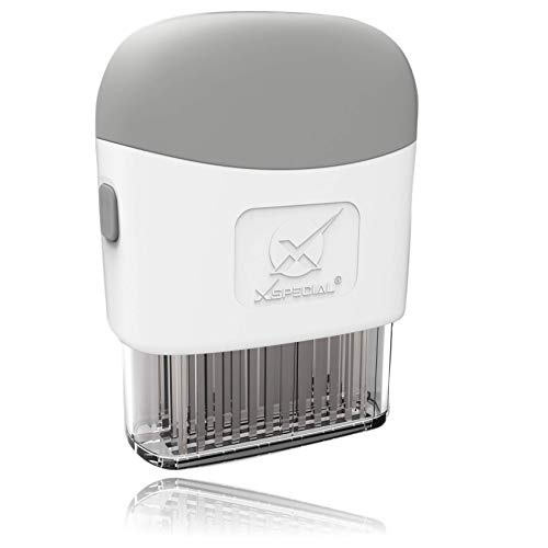 Deluxe Meat Tenderizer Tool   Easy To Use amp Clean   48Blades Stainless Steel Turn Tough amp Hard Meats Into Tender Buttery Goodness  No More Hammer Or Mallet pounding   100% Hassle Free Guarantee