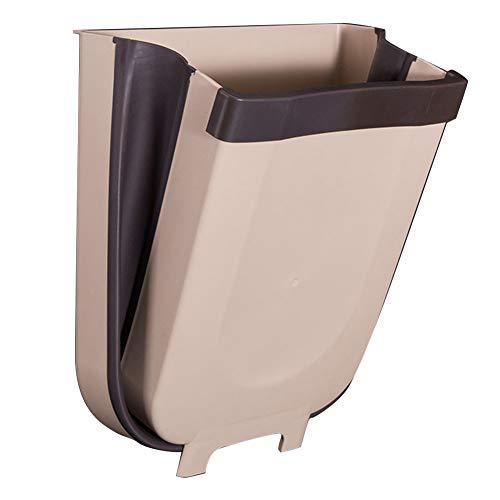 Opknoping prullenbak 8L vuilnisbak kleine lade vuilnisbak keuken kast deur slaapzaal auto slaapkamer badkamer grote capaciteit inklapbaar (Gray zwart) Grijs Zwart