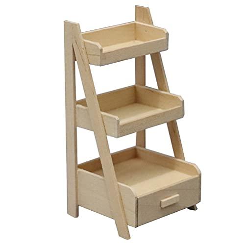 Miniatuur houten opbergrek Bloemenrek Drielaags Mini House Supplies