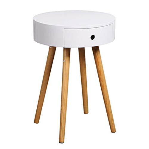 Tables basses Table De Chevet Table De Chevet Simple Chambre À Coucher Petite Table Côté Canapé Petite Table Ronde Cadeau (Color : Blanc, Size : 38 * 38 * 56.6cm)