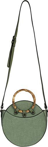 styleBREAKER Damen Runde Umhängetasche mit Bambus Henkeln und strukturierter Oberfläche, Schultertasche, Henkeltasche, Tasche 02012292, Farbe:Oliv