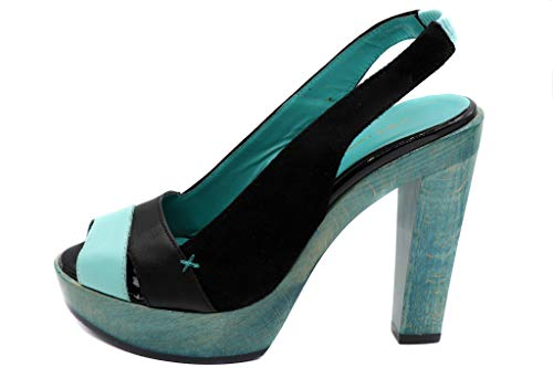 CNC Pumps Peeptoes Leder Leather Pump Mint schwarz Sandalette Sandale Neu Gr. EU 36
