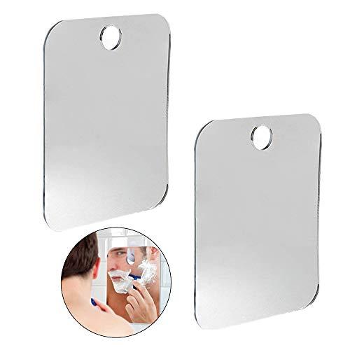 Espejo de ducha de Guanici sin niebla, flexible, no cristal, para colgar en la pared, espejo sin marco, para vestidor, dormitorio y salón (2 unidades)