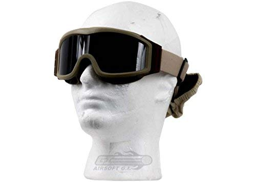 Lancer Tactical AERO 3mm Thick Dual Pane Lens Eye Protection Safety Goggle System ANSI Z87 1 Rated Industry Standard Panel Ventilated w/Anti-Scratch Shield Fully Adjustable (Tan / 3 Lens)