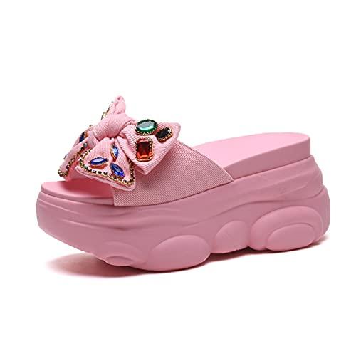 Sandalias para mujer, plataforma de descanso, moda, para verano, antideslizante, puntera abierta, con lazo, zapatos, color Rosa, talla 37 EU