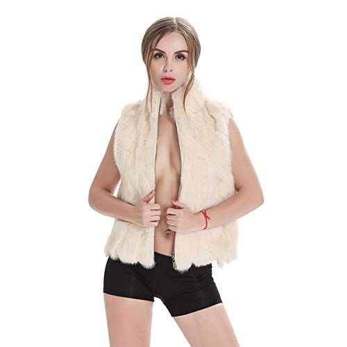 SHOUBANG Mantel Naturfell Kaninchenfell Weste Gewöhnlichen Kragen Herbst Und Winter Frauen Pelz Weste Frauen Mantel Mantel Weste
