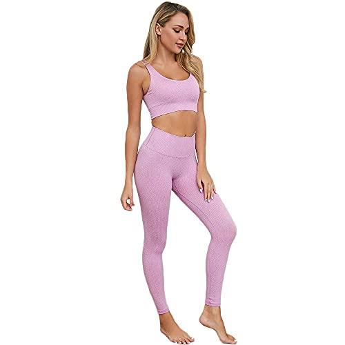 LIXHZJ Conjuntos de entrenamiento para mujer, sujetador deportivo de cintura alta, leggings de yoga, 2 piezas, chándal casual//50 (color: morado, tamaño: mediano)