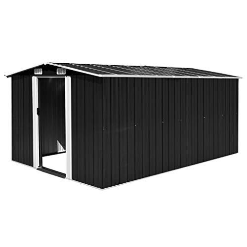 UnfadeMemory Caseta de Almacenamiento de Metal de Jardín,Cobertizo Exterior para Almacenar Herramientas (Negro, 257x398x178cm)
