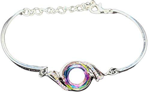 Pulsera brazalete para mujer y niña plata fenix nirvana color arcoiris ideal para regalo san valentin dia de la madre aniversario con incrustacion de cristales austriacos.