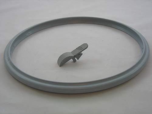 Reparaturset für Schnellkochtopf Tischfein/WMF Rapid + Easy + Express Dichtungsring 20cm + Verriegelungsschieber für Deckelgriff