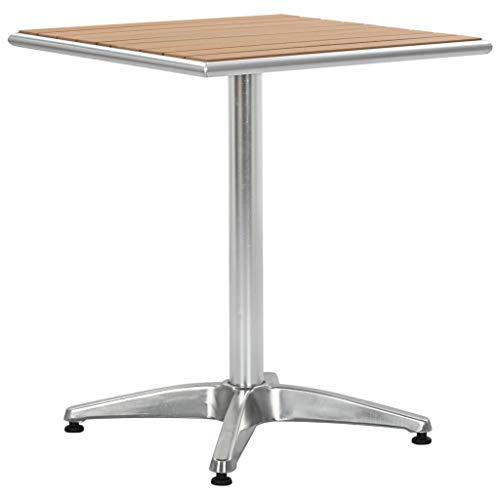 vidaXL Gartentisch Bistrotisch Balkontisch Terrassentisch Alutisch Stehtisch Bartisch Esstisch Gartenmöbel Tisch Silbern 60x60x70cm Aluminium WPC