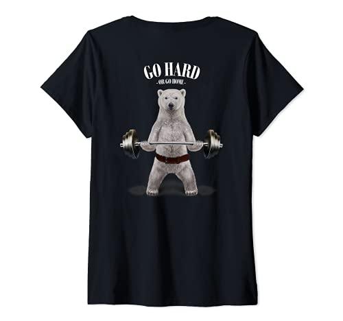 Mujer Levantamiento de pesas de oso polar en el gimnasio Camiseta Cuello V