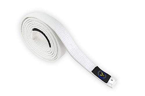 "PHOENIX POWER Jiu Jitsu Belt for BJJ GI Kimono Brazilian Preshrunk Fabric Unisex White (A5-130"")"