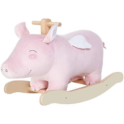 labebe Baby Plüsch Schaukeltier Rosa Schwein mit Flügel Schaukelpferd Holz Kinder Schaukelspielzeug Plüschtier Spielzeug für 1-3 Jahre