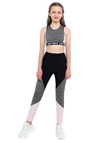 MSemis Teenager Mädchen Sport Kleidung Set Jogginganzug Trainingsanzug Yoga Fitness Crop Top Oberteil mit Leggings Streetwear (Grau+Schwarz, 146-152)