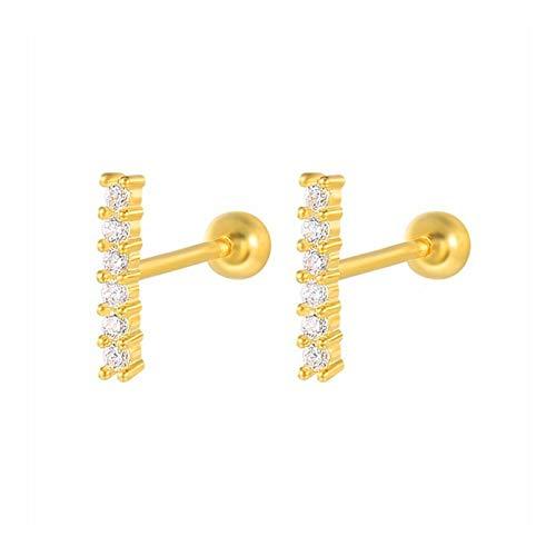 QQINGHAN 1 par de pendientes de plata de ley 925 reales para mujer, piercing de cartílago, minimalista, pequeños pendientes de joyería (color de la gema: oro 13)