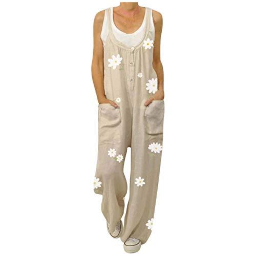 Jumpsuit Rompers for Women, Women Casual Floral Print Straps O-Neck Rompers Pocket Playsuit Long Jumpsuit, Women Pants (Khaki 4XL)