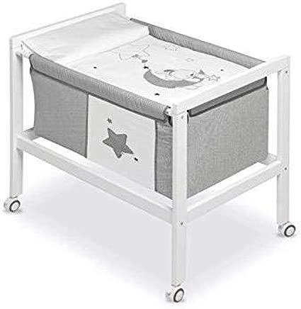Pirulos 20013219 Mini Cot Square  Moon Design  cm  White and Grey
