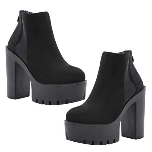 Happyyami Botines de Moda para Mujer Botas Cortas de Invierno Plataforma Tacón Cuadrado Zapatos con Cremallera de 13Cm Botín Cálido Tacones Gruesos