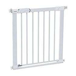 Thin step over bar for no more trip hazard especially at the top of the stairs U-shaped frame with four pressure points provides solid fit and doesn't require drilling Secure tech visual indicator that gate securely locks into place This baby gate ha...
