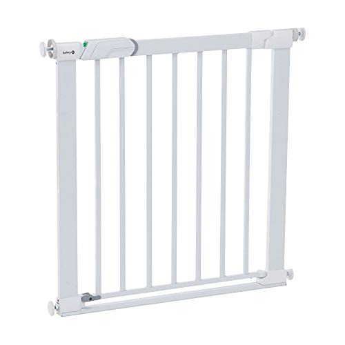 Safety 1st SecureTech Flat Step Practical Safety Metal Gate with Thin Step Over Bar, Ideal for Kids and Pets, 73 to 80 cm, White