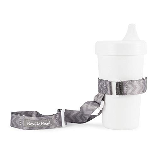 BooginHead Baby Toddler SippiGrip Sippy Cup Holder Strap, Go Go Chevron, Gray